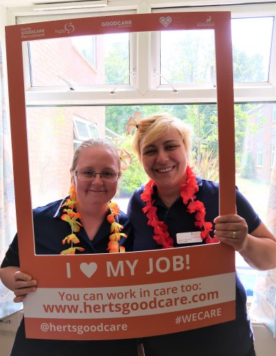 """Sarah has worked in care since she was 18 years old. She started as an apprentice care assistant also supporting the activities coordinator,  working her way up to Senior Care Assistant and now Team Leader. """"I really enjoy helping people and making a difference. There is also continual support from management who are always supportive with my career progression. Since starting here 8 years ago I have completed my Level 2 and level 3 in Health and Social Care."""""""