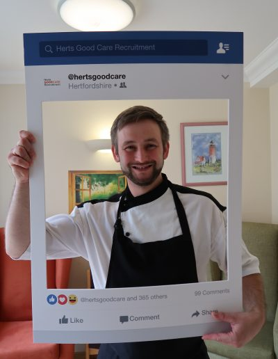 """Charlie is Head Chef after having previously worked in pubs, restaurants and children's nurseries. He has been a qualified chef for 14 years and entered the care sector as the flexible working hours accommodated his family life with young children. Charlie described the main challenge being residents' weight gain and encouraging them to eat their meals. However, he has gained invaluable experience around person centered care, such as knowing which residents require liquidised or pureed food, and each resident's favourite foods. We asked Charlie how his career has progressed since he began working with his current employer; """"I have completed care training and continue to go on training courses to expand my knowledge, which is great."""""""