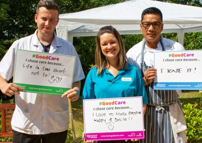 There are many different positions in care, here are The Orchard Nursing Homes care assistant, engagement coordinator and head chef